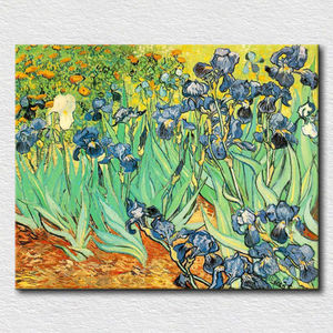 Beautiful blue Iris flower designs fabric painting in modern style