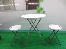 hot sales small round folding home living table,modern side table,mini coffee table with blow molded HDPE table top