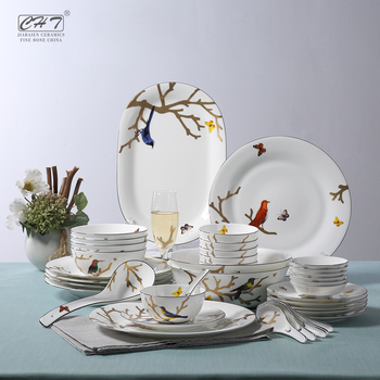 38pcs bone china style ceramic types dinner plates with bird pattern & 38pcs Bone China Style Ceramic Types Dinner Plates With Bird Pattern ...