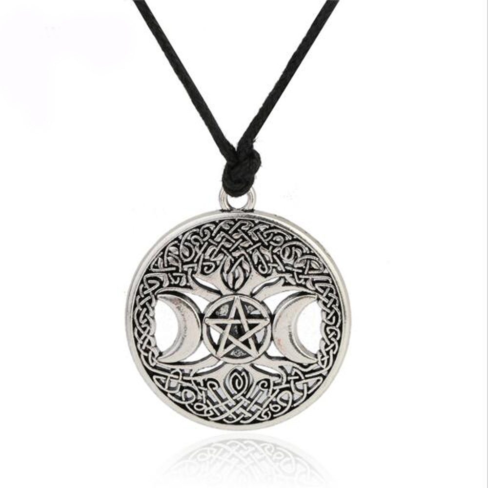 Triple Moon Goddess Necklace Wicca Pentagram Magic Amulet Necklace Women tree of life moon necklaces pendants vintage