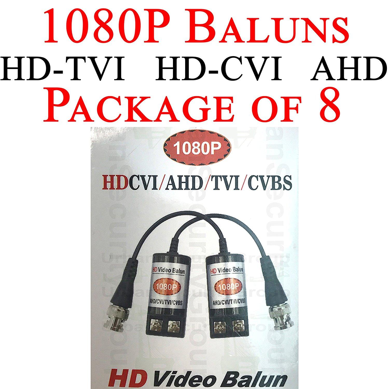 USG Premium Pack of Eight (8X) HD 720P / 1080P CCTV Balun Transceiver : BNC + 2-Wire Screw-Down Clamp : Video Over Network Cable : Passive : Transmit HD Video Signal : HD-TVI, HD-CVI, AHD Equipment