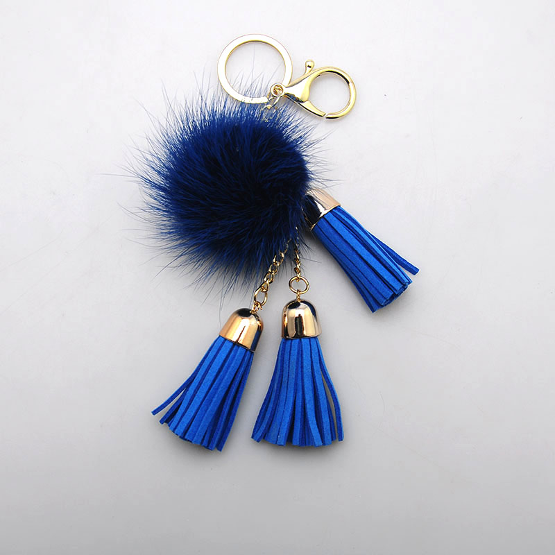 JOJO promotional tassel key ring custom fox fur ball pom keychain