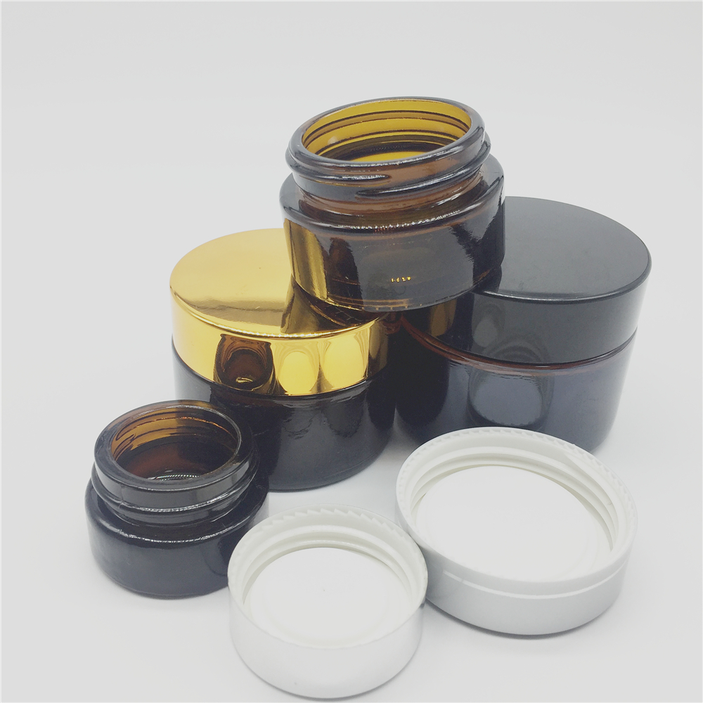 20ml 30ml 50ml Amber Cosmetic Cream Glass Jars