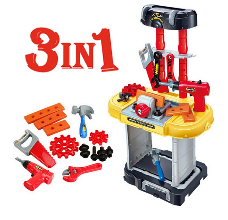 3 in 1 electronic plastic kids super tool set toy