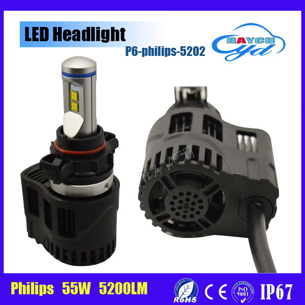 New Arrivals !high power 12v 55W 5200LM/bulb 5202 LED Car Headlight Bulbs with Luxeon MZ LED and mini size