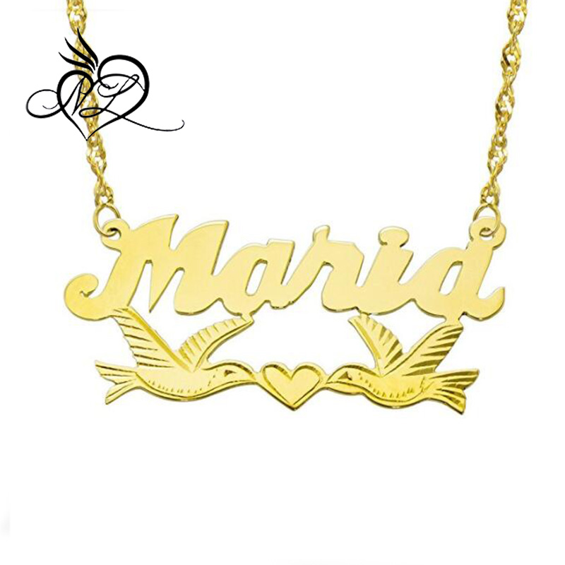 14K Yellow Gold Personalized Name Plate Necklace - Style 11 - Customize Any Name