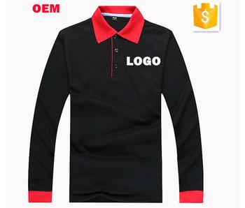 a433ef05dac67 Polo longo preto do algodão da luva das mulheres uniformes do restaurante  com logotipo feito sob