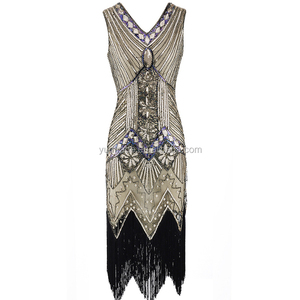 XXXL Size 1920S Vintage Sequin Charleston Dress Great Gatsby Sexy Women Evening Party Shining Bling Tassel Dress