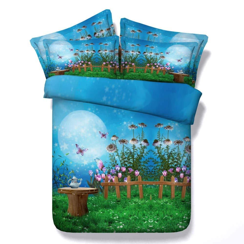 3D Printed Green Garden Duvet Cover Set Blue Bedding Sets Floral Bedspreads Home Textiles Bedroom Set King Bed Linens 3PC