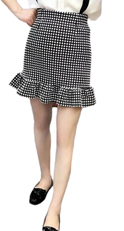 49e1fee5a6798 Get Quotations · OUCHI Women Fashion Plaid Pencil Skirt Short Elastic Fit  Trumpet Skirt