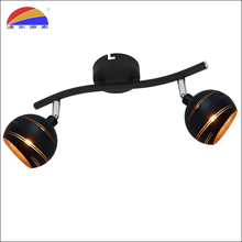 Ijzer mat zwart twee manieren heads bol spot light swivel spot lamp spotlight voor home hotel mall bar