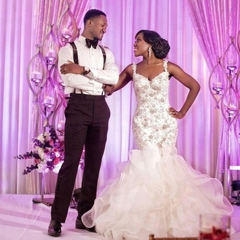 525785c376 H052 Luxury Mermaid Organza African Black Women Wedding Dress Beading  Crystals Bridal Gown