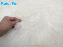 Factory price long hair curly Mongolian lamb fur Tibetan blanket real fur rug fabric