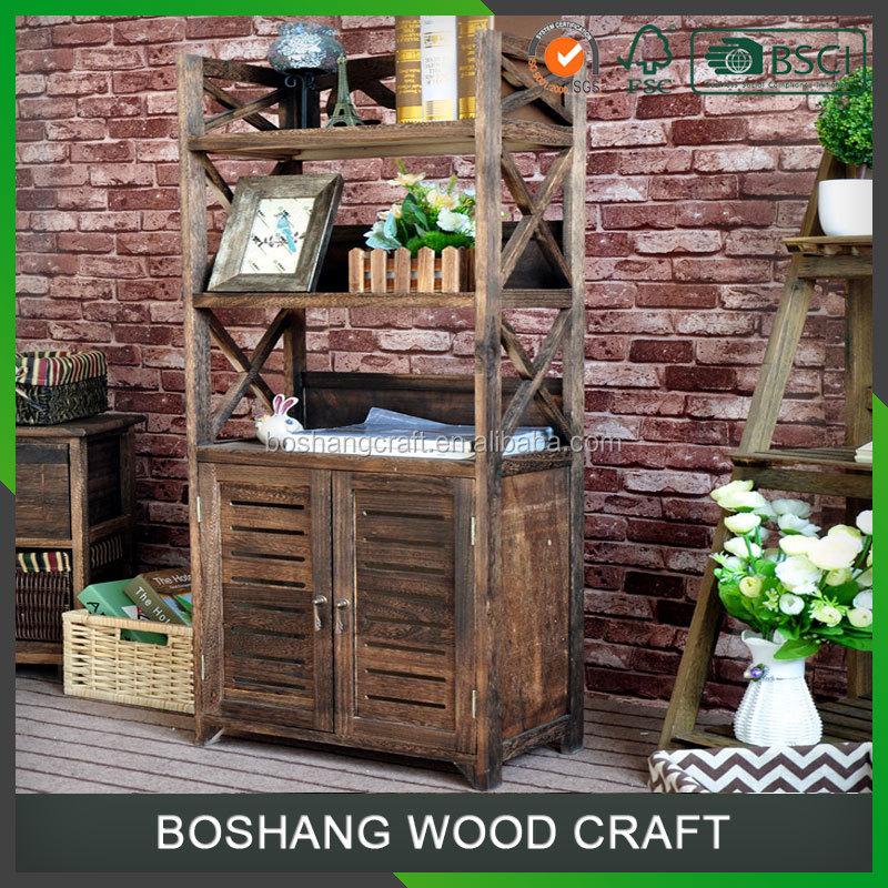 donker bruin goedkope houten boekenkast met opbergkast
