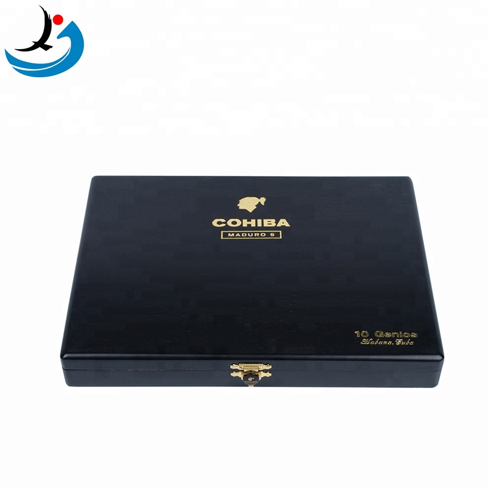Factory Wholesale Custom Small Black Lacquered Cohiba Black Wooden Cigar Box