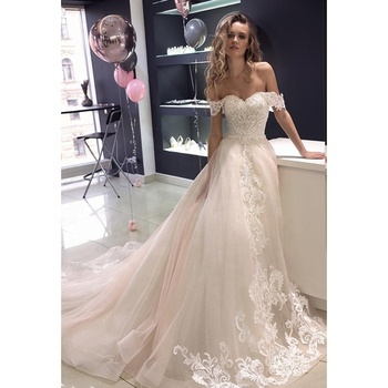 New Off Shoulder A-Line Wedding Dress Lace Wedding Gown Bridal Casual Beach Wedding Dresses 2019 Robe de mariage