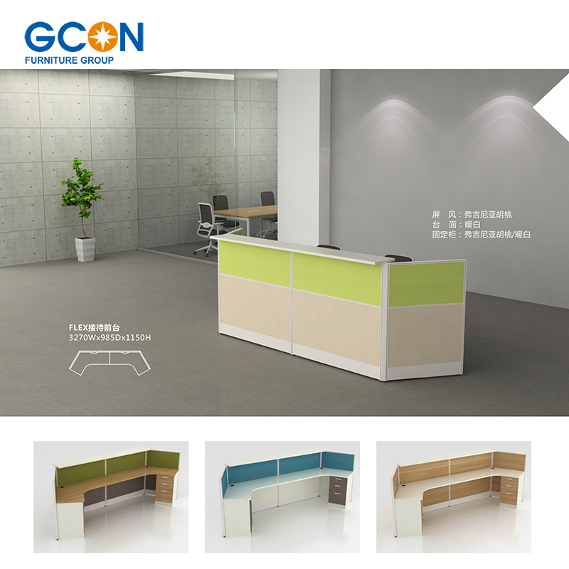 Office Modern Reception Desk Front Counter Design Table For 2 Person