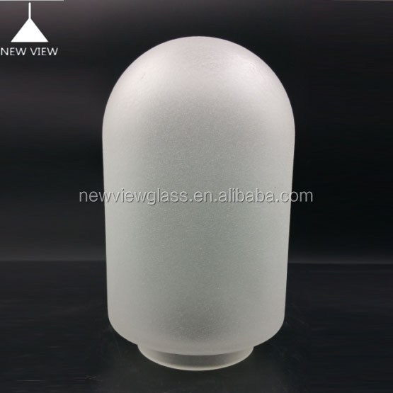 China supplier wholesale round dome acid effect l white lighting glass/ bottle vase neckless milk glass cover for torchiere