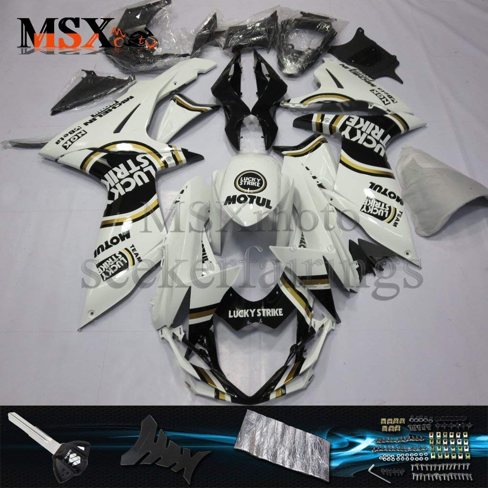 MSXmoto Fairing Kit Fit for Suzuki GSXR600 750 K11 2011 2012 2013 2014 Motorcycle Fairing Kit Plastic ABS plastic Injection Molding Kit Complete Motorcycle Fairing Bodywork Painted(White&Black)