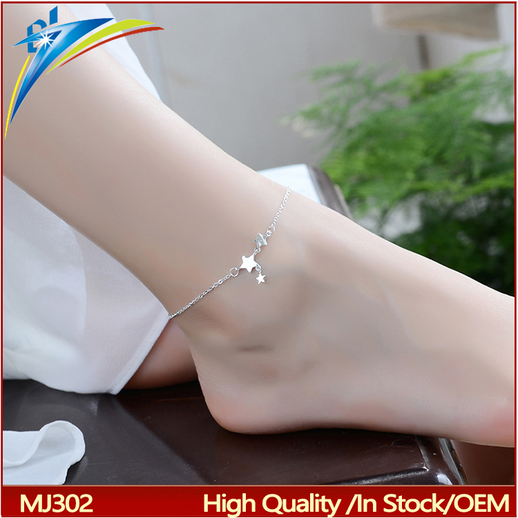 Women charm anklet star ankle tassel pendant foot chain 925 silver jewelry hotwife anklet