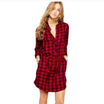 a4441db9c8 DD234 camisa roja vestidos con camisa a cuadros BF estilos vestidos para  niñas