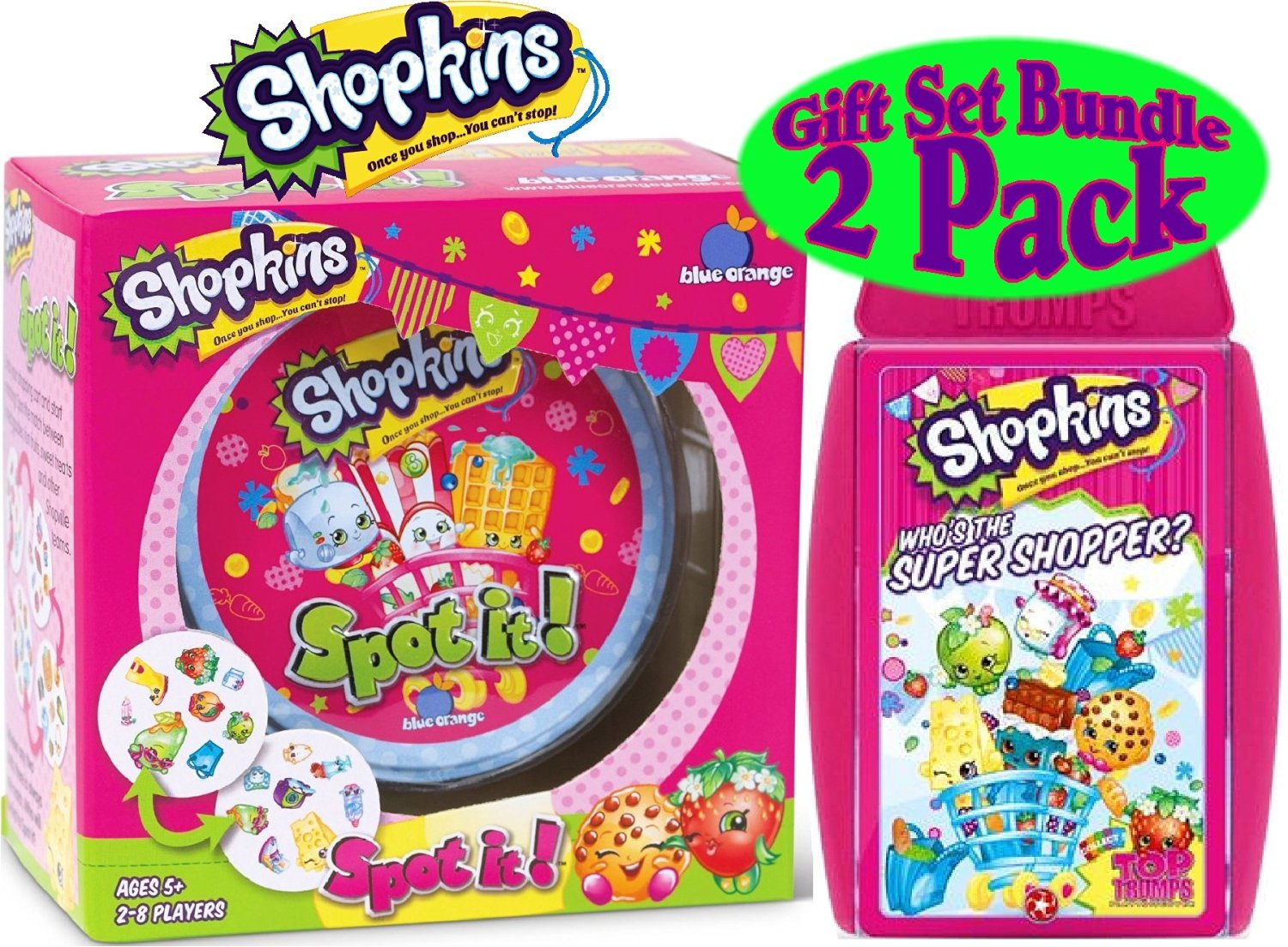 "Top Trumps ""Shopkins"" & Blue Orange Spot It! ""Shopkins"" Card Games Gift Set Bundle - 2 Pack"