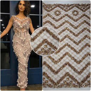 Heavy wholesale beaded lace fabric dubai net embroidered tulle crystal beaded lace HY0710-5