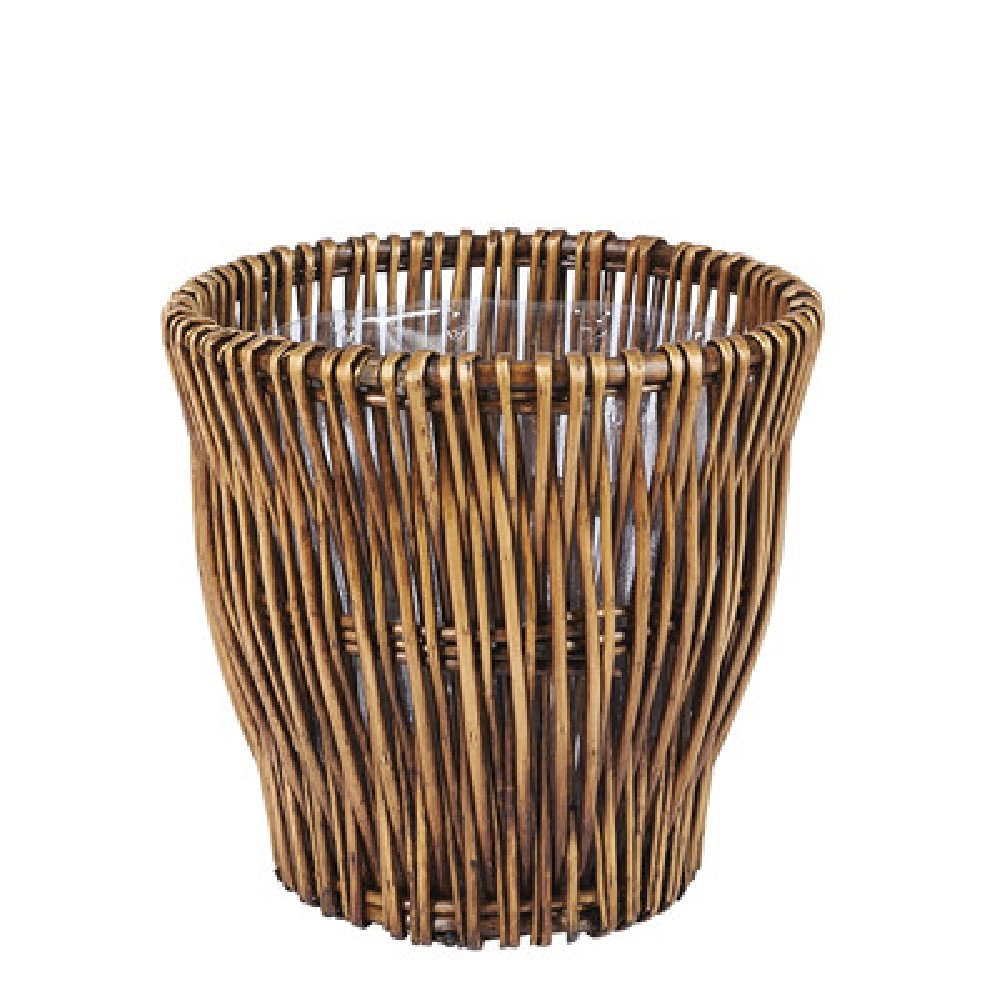 Get Quotations · Small Wicker Waste Basket Compact Reed Willow Trash Bin  With Attached Plastic Liner