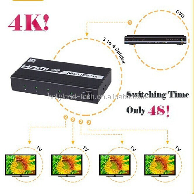 4k*2k ultra HD HDMI Splitter 1X4 4 Port 1.4 3D 1080p 1 in 4 out