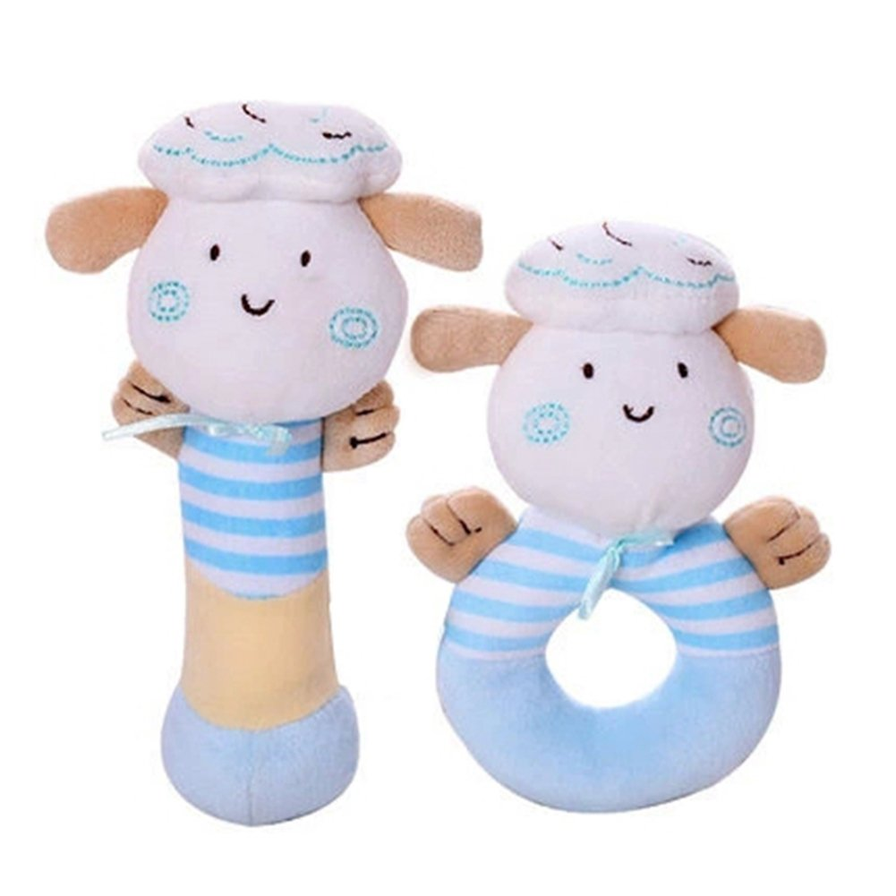 Wingingkids Rattle Set, Educational Sensory Activity Grasping Rattles, Soft Plush Baby Toys with Easy Grip Ring, First Year Baby Use for Boys and Girls, Plush Lamb, Blue