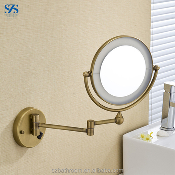Fashionable Bronze Antique Wall Mounted Led Lighted Vanity Makeup