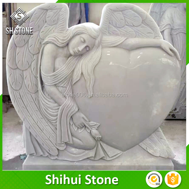 High Quality Marble Hand Carved Carved Angel Monument And Headstones