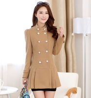 D51822J 2014 new autumn and winter woolen thicken pure color women coat
