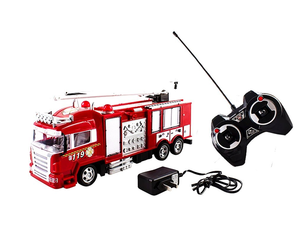 Toycity RC Fire Truck Rescue Engine Radio Remote Control w/ Music and Flashing Lights Rechargeable Battery