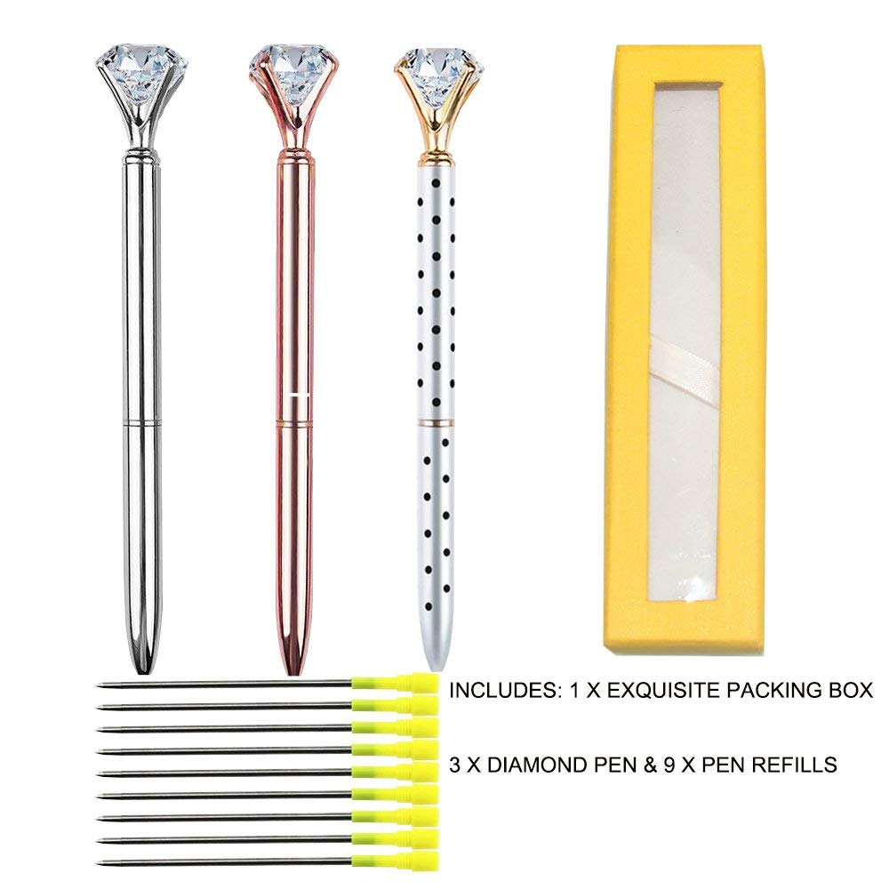 3 Pieces Big Crystal Diamond Pen Metal Ballpoint Pen Black Ink and 12 Pieces Ballpoint Pen Refills