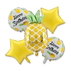Summer Party Decoration Kit Pineapple Balloons ,18 inch Yellow Star Foil and Round Foil Balloons Hawaiian Beach Supplies