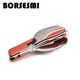 New stainless steel knife spoon fork set japanese multifunction pocket cutlery travel3 in 1 folding tableware picnic cutlery set