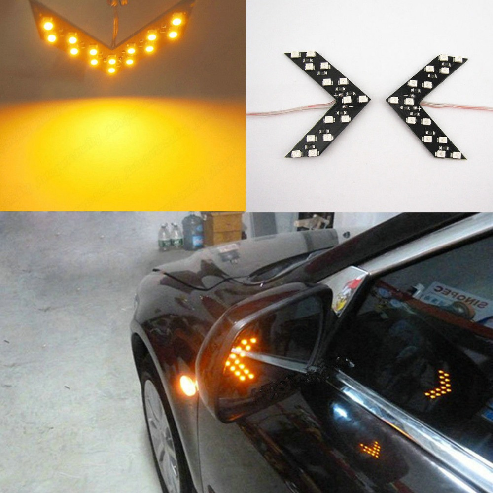 Color 14/33-SMD LED Arrow Panels for Car Side Mirror Turn Signal Indicator Lights