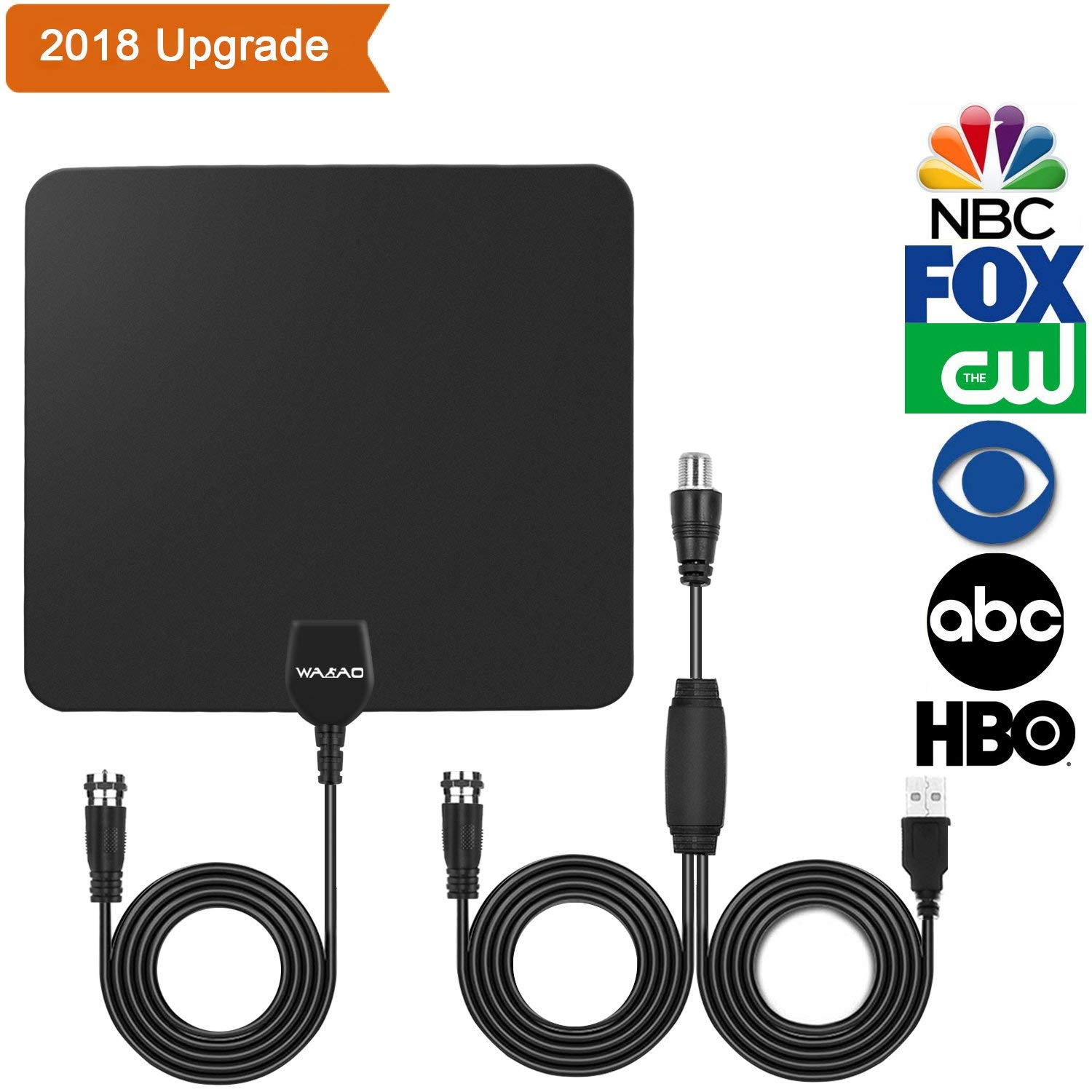 MEOO TV Antenna Indoor HD Digital TV Antenna with 50 Miles Long Range Amplifier HDTV Signal Booster Upgraded Version Coax Cable-BlackTV Antenna, Best 50 Miles Range Amplified Indoor HDTV Antenna