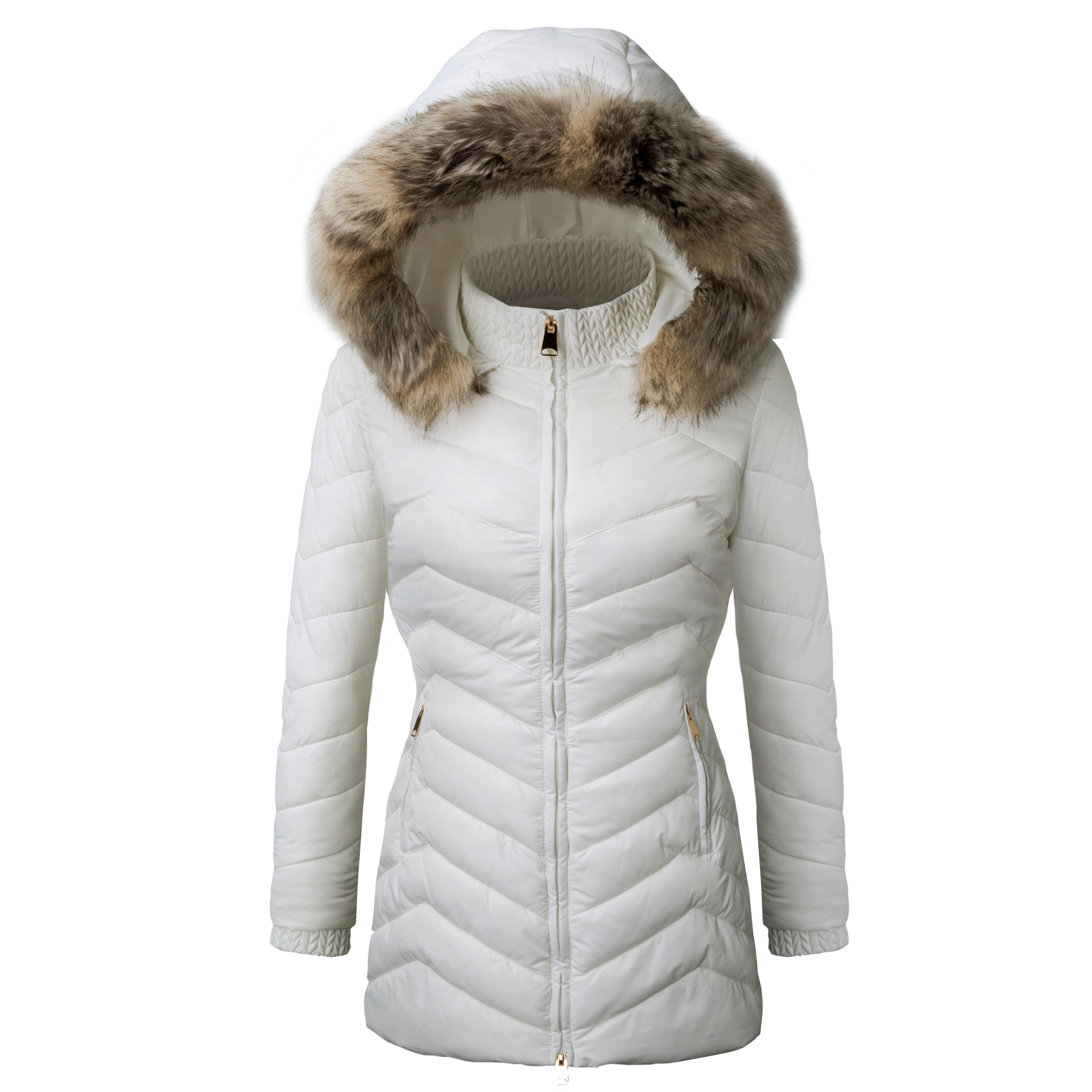 Fashion White Blankwinter Custom Fur Women Padding Coat Jacket Women