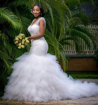 African Custom Made Formal Bridal Gowns Designs Lace Beading Mermaid Vestido De Casamento Nw044 Wedding Dresses
