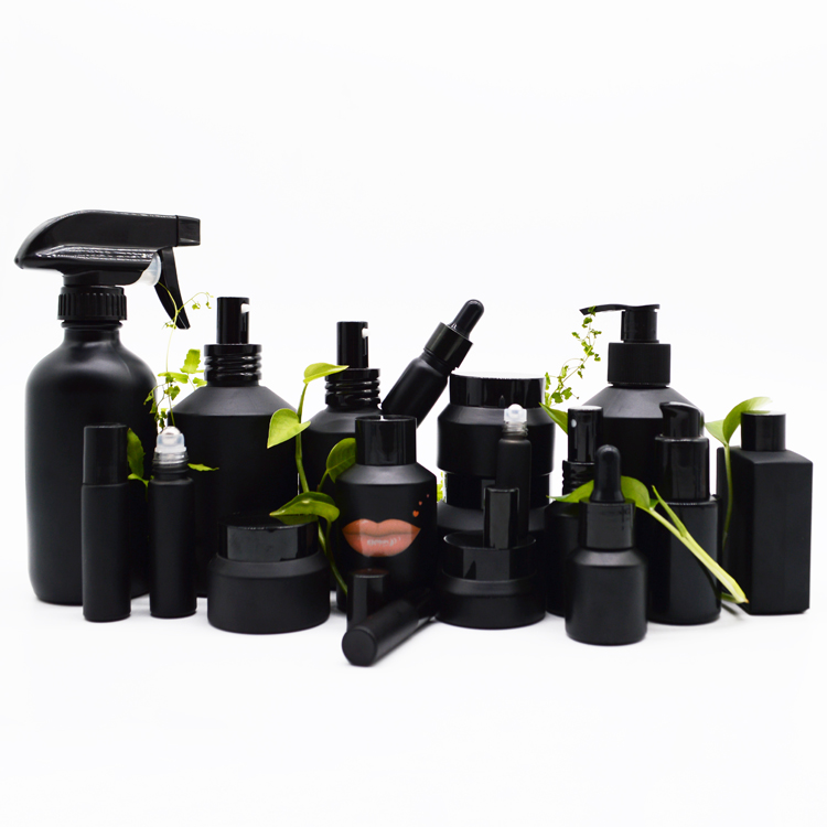 high end frosted matte black cosmetic glass bottle and jar pump bottle for lotion serum cream full set
