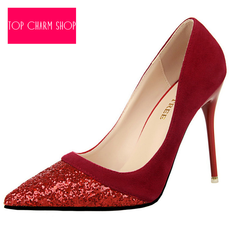 af19b16c86066 New Sale Women Pumps Ultra High Heels Pointed Toe Red Sole Sequins Color Pumps  Shoes For