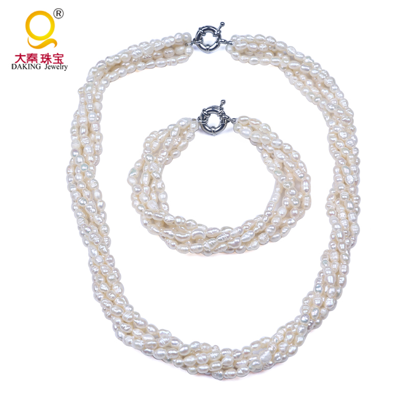 Modern Necklace And Bracelet Design Multi Layered Pearl Bridal