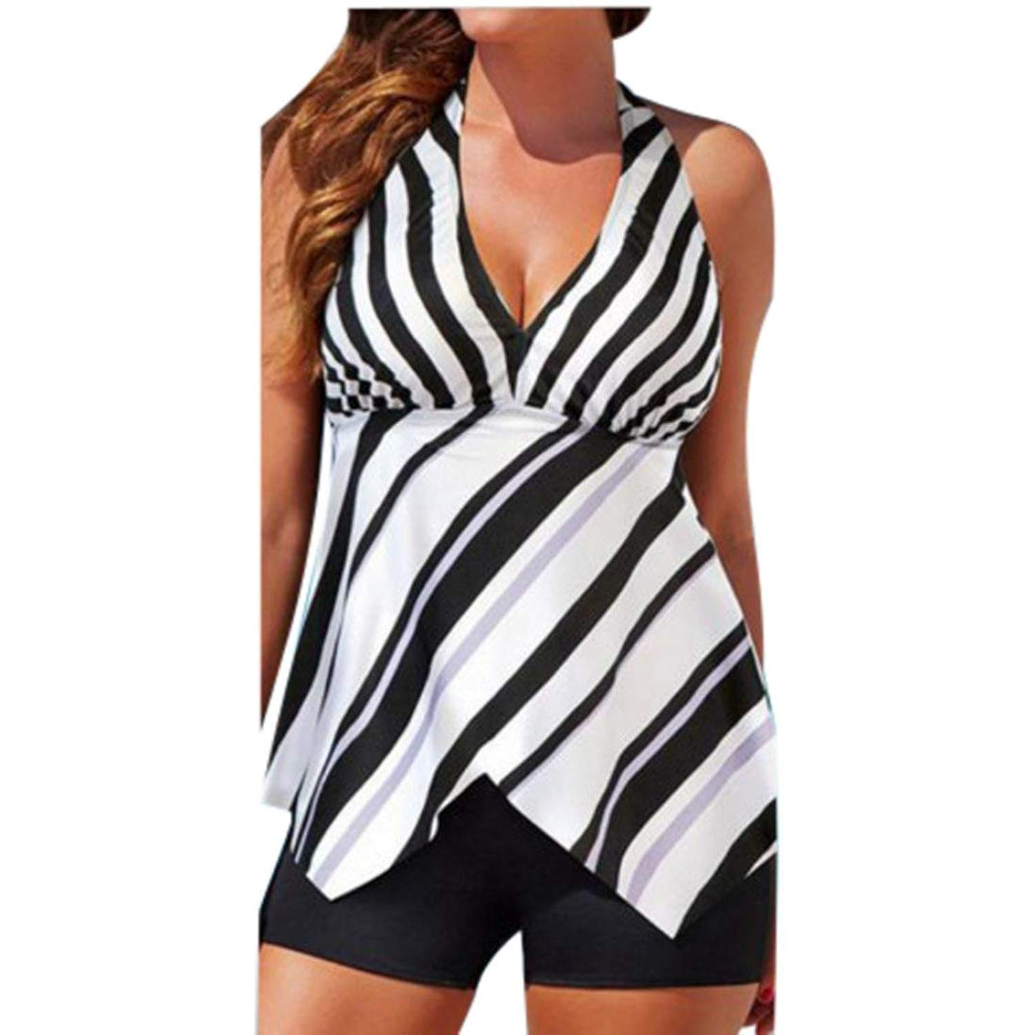 f5f63505aefa1 Get Quotations · Women Tankini Sets with Boy Shorts Ladies Swimming  Costumes Two Piece Swimsuits