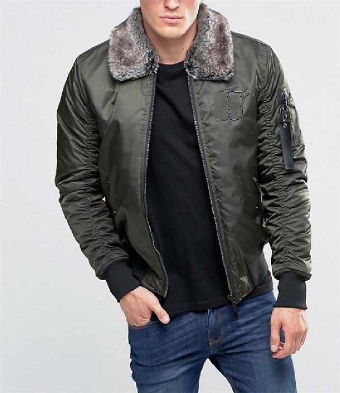 Brand New Woodland Winter Men's Padded Jacket with Faux Fur Collar Custom Logo JY-004S