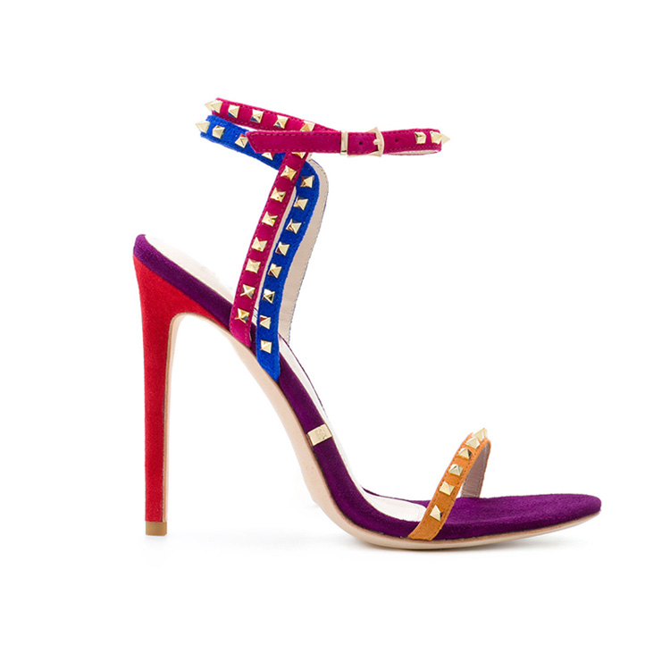 Summer 2018 gold buckle Sandals Women Studded <strong>heels</strong> Open Toe Stiletto <strong>heels</strong> Ladies Pump Shoes