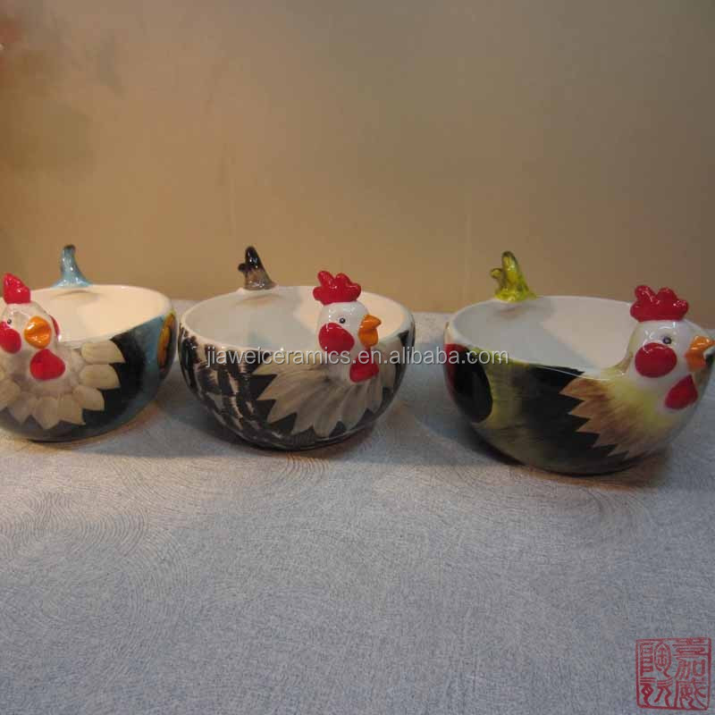wholesale 3size rooster shape ceramic candy bowl for easter day