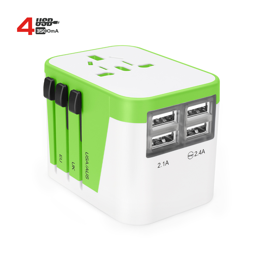New 혁신적인 가젯 프로모션 gift travel adaptor 네 USB travel charger 와 AUS UK US EU Plug