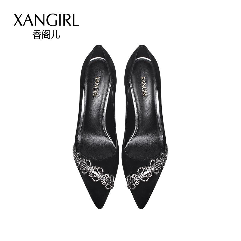 New shoes decorated lady women fashion rhinestone pointed thin heel styles pumps toe 2018 gWTq74wTn
